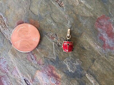 14 KT Yellow Gold Enamel Lady Bug Pendant Charm Red NEW Small Size 3-D](Yellow Lady Bug)
