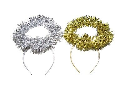X12 CHRISTMAS GOLD SILVER TINSEL ANGEL HALO HEAD BOPPERS HEADBAND NATIVITY - Gold Angel Kostüm