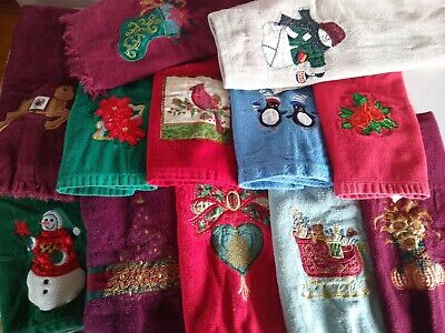 Bathroom Hand Towels Huge Lot of 12 Embroidered Appliqués Christmas Holiday Fall