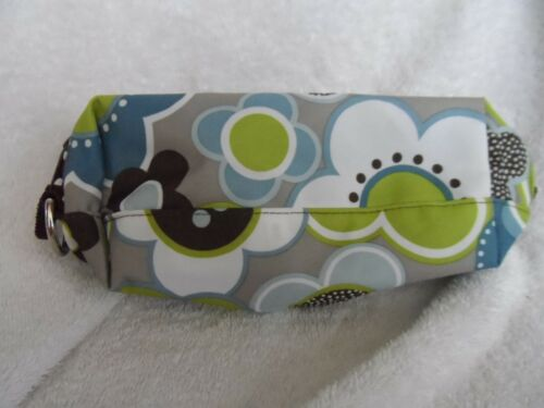 Thirty-one 31 Zip-up Pencil Pouch Make up Bag Blue Floral