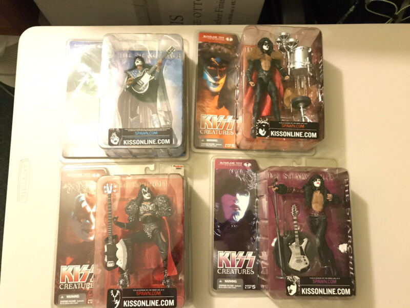 KISS RARE LOT (4) SEALED CREATURES OF THE NIGHT FIGURES.ERIC CARR/ACE FREHLEY.
