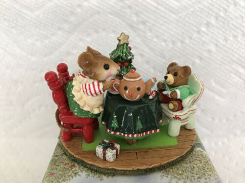Wee Forest Folk M-177 Christmas TEA FOR THREE 🎄☕️ DARLING, Retired - PRISTINE