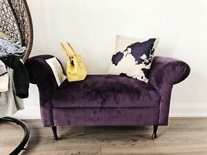 Luxury Vanity Velvet Bench in Purple/Violet