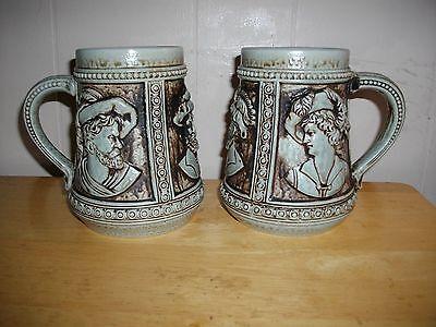A Pair of Vintage German Gerz Earthenware Beer Steins
