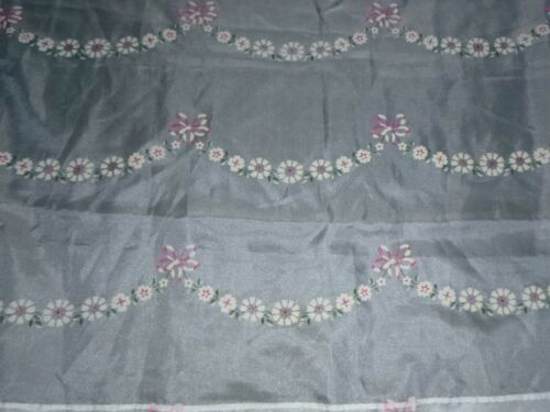 "Vtg Sheer Flocked Fabric Curtain Panel Pink Daisies & Bows 40"" x 80"" NICE!"