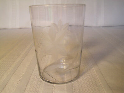 "Vintage 3 3/4"" Flower Etched Thin Glass Tumbler or Drinking Glass - Dainty"