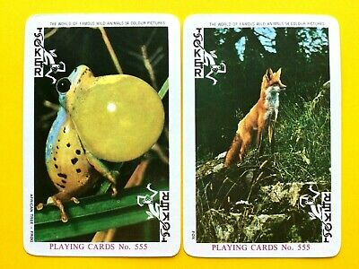 2 Famous Wild Animals Series - Fox & African Tree-Frog JOKERS Swap Playing Cards