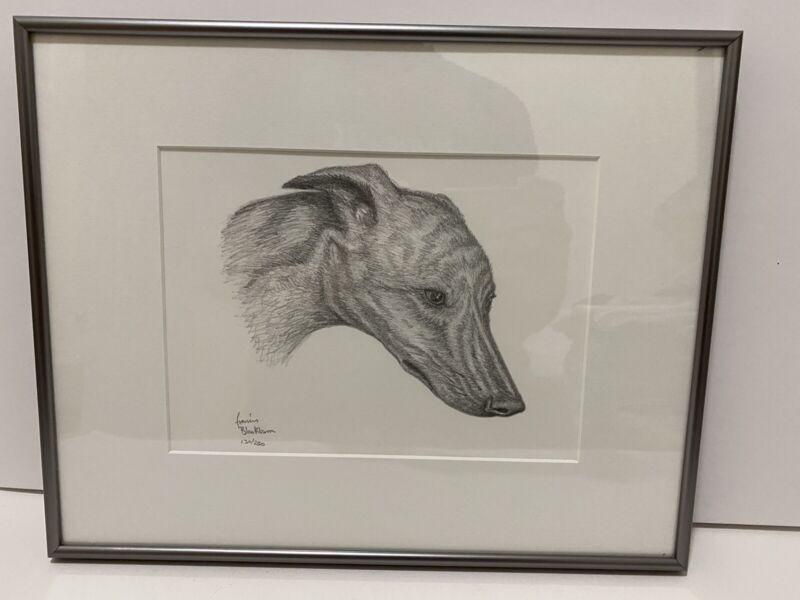 Vintage Framed Sketch Greyhound or Whippet Dog