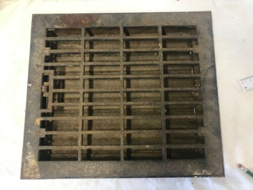 "Antique LG  Iron Floor Heat Register Grate w/ Louvers ~ 16"" X 14"""
