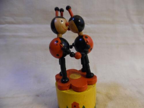Vintage Ladybug Wood Push Toy