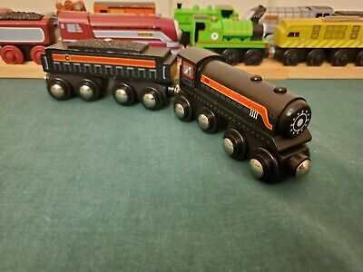 Target Circo Wooden Big Black Steam Tender Engine WORKS WITH THOMAS GUC READ DSC