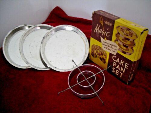 "Vintage 1950s OVENEX MAGIC CAKE PAN SET BOX 3 X 9"" Cake Pans & 1 Magic Form"