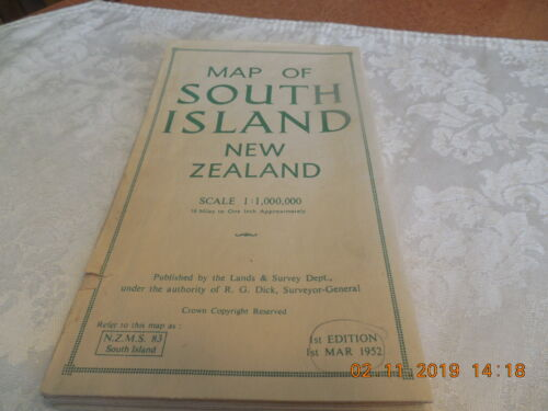1952 1ST EDITION MAP OF SOUTH ISLAND NEW ZEALAND BY LANDS & SURVEY DEPT.