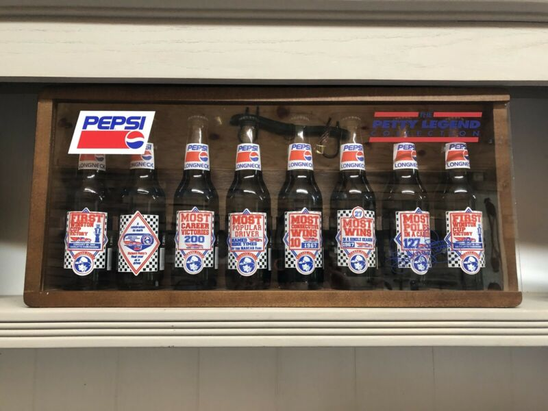 Rare Richard Petty 8 Longneck Pepsi Bottles In Signed Wooden Display Case