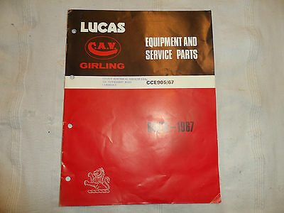 LUCAS PARTS CATALOGUE FOR 1967 ROVER CARS & LAND ROVER