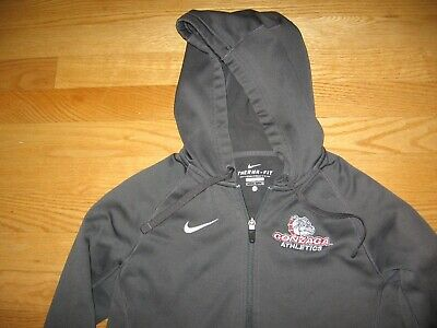 GONZAGA UNIVERSITY GU BULLDOGS NCAA SEWN ON PATCH HOODED ZIP DOWN JACKET BY NIKE Gonzaga Bulldogs Jacket