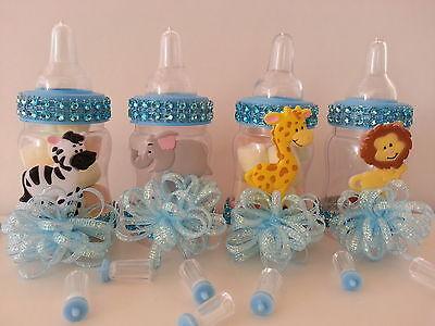 12 Blue Fillable Bottles Baby Shower Favors Prizes Safari Jungle Noah's Animals (Safari Blue Baby Shower)
