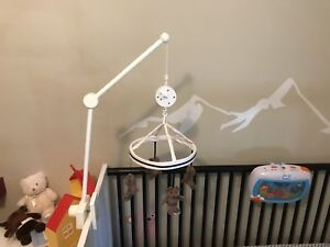 Pottery Barn crib mobile and matching crib skirt