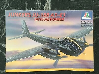 ITALERI 1/72 WW II GERMAN JUNKERS JU-188 A1-E1 MEDIUM BOMBER MODEL KIT # 117 F/S for sale  Canada