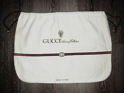 """Auth GUCCI Vintage GG Drawstring Dust Bag Cover 15"""" x 11"""" Red Green Stripe Asis"""
