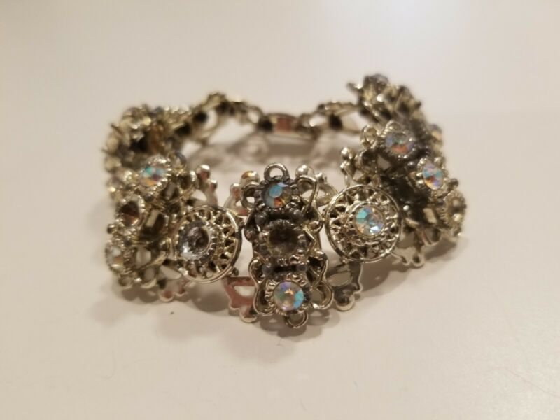 "Vintage Aurora Borealis Crystal Chunky Silvertone 7"" Bracelet"