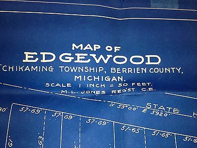 Michigan Map of EDGEWOOD Chikaming Township Berrien County 1893 BLUEPRINTS Rare