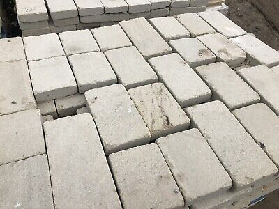Grey 50x 150mm Genuine Yorkshire stone Tumbled setts block Paving Path driveway