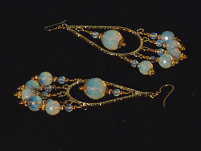 Gemstone Earrings - Mexican Opals w/ Gold-Plated Surg Steel - long chandeliers