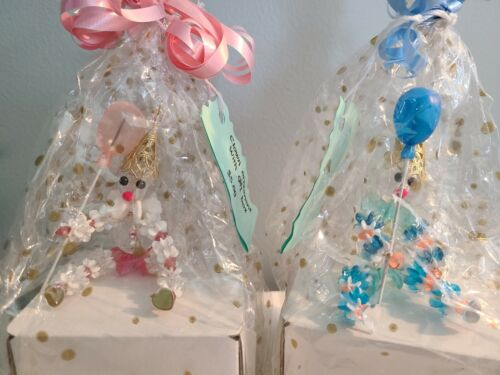 2 Vintage Beaded Birthday Clown Ornaments Handcrafted Pink & Blue with Balloons