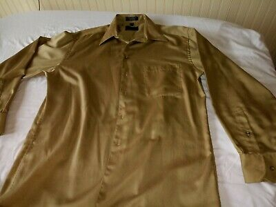 J. Ferrar Dress Shirt 16 x 34  beautiful gold color cotton blend, expensive -