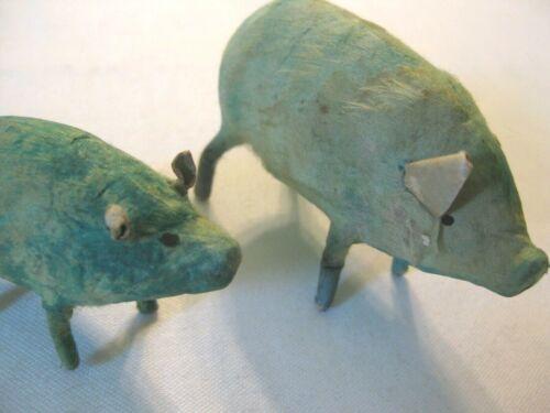 Lot 2 Vintage Putz Blue or Green Pigs w/stick legs – Japan