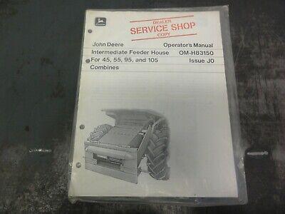 John Deere Intermediate Feeder House For 45 55 95 105 Combines Operators Manual