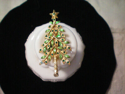 LOVELY Vintage Chritmas Tree with GREEN Stones Holiday Seasonal
