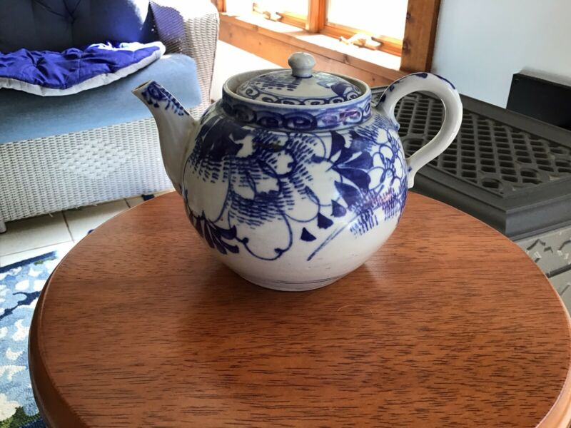 Antique Chinese Teapot, Kangxi Style, Hand Painted Blue & White