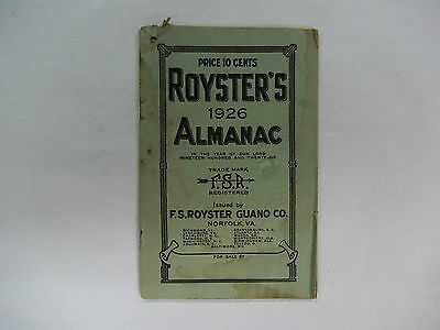 Vintage 1926 Roysters Almanac 48 pages