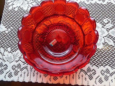 Fostoria coin glass bowl beautiful red color glass marked