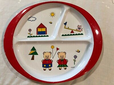 Vintage PECO Ware  Kids Plate Divided 3 Section - Girl & Boy Bear -