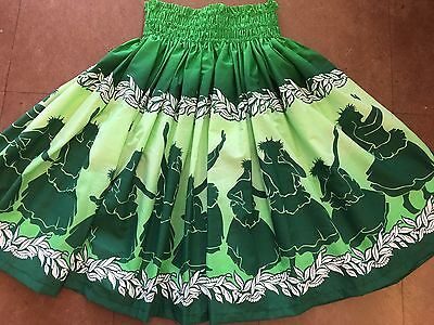 "NEW GREEN OMBRE HAWAIIAN PAU PA'U HULA SKIRT 28"" LONG MADE IN HAWAII for sale  Honolulu"