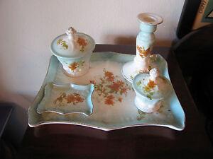 Antique-5-Piece-Porcelain-Dresser-Vanity-Tray-Set-w-Painted-Floral-Decoration