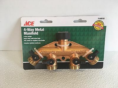 ACE 4-Way Shut-Off Metal Manifold Water Garden Hose Brass Fitting Splitter