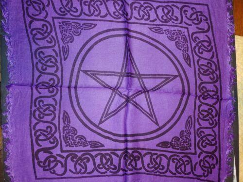"18"" x 18""  Purple Pentacle /Pentagram-Altar/ Tarot Cloth-Fringed Edges"