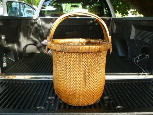 REPUBLIC PERIOD CHINESE WOVEN WILLOW RICE BASKET W INTERSECTING ELM WOOD HANDLE