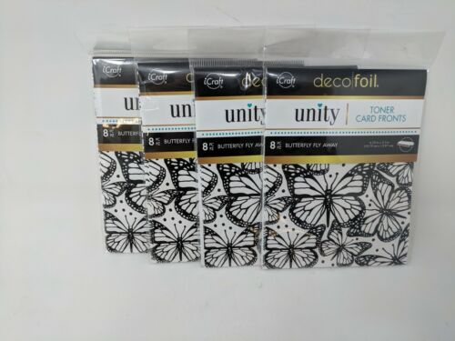 Lot Of 4 Deco Foil Toner Card Fronts By Unity, Butterfly Fly Away, 19047