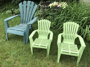 Muskoka chairs - pair of plastic child's size lime green
