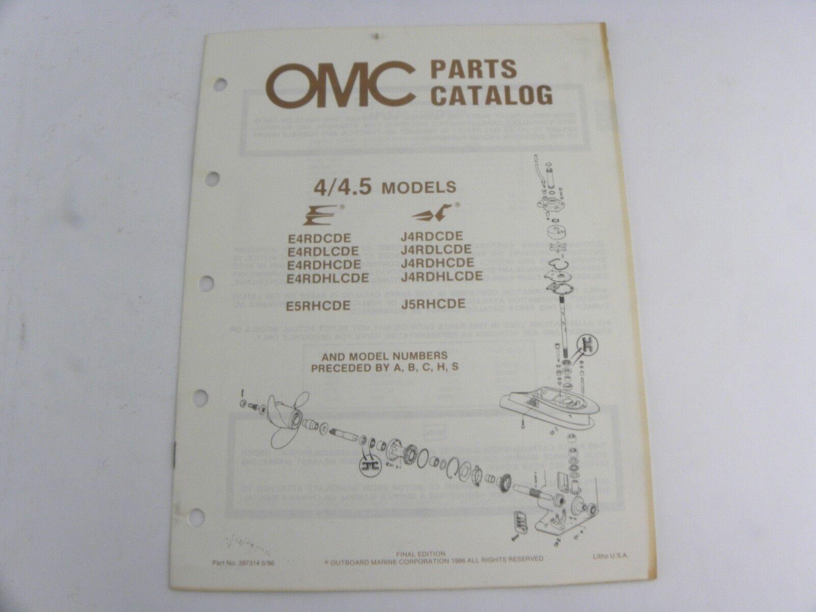 Evinrude Johnson 4/4.5 Models Outboard Motor Parts Catalog Manual 1986 OMC