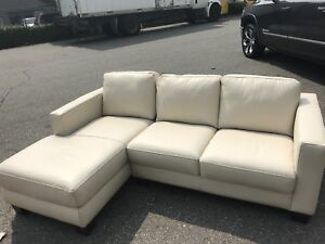 Brand New White Leather Like Section with Chaise End
