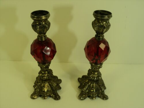 Vintage Candle holders, Ornate Metal,  Red Lucite Faceted Jewel, NICE