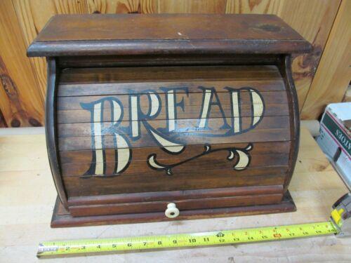 Vintage Rolltop Wood Bread Box – Rustic Kitchen Decor