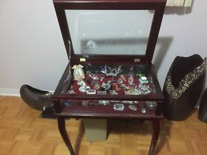 Wood & Glass Curio Cabinet Table
