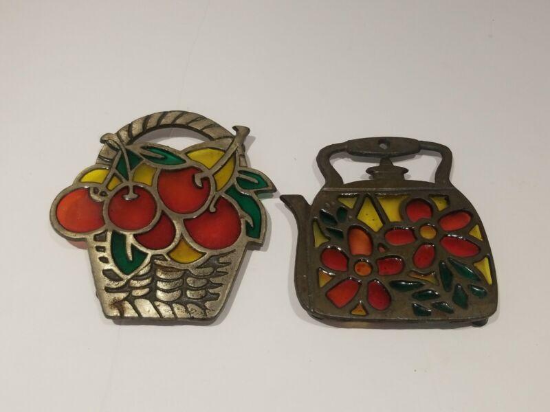Vintage Stained Glass and Brass Tea Kettle & Fruit basket Trivet